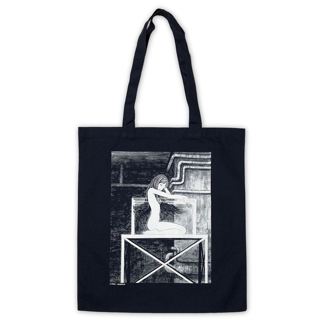 伊藤潤二 トートバックB 『地下室』ネイビー, ITO Junji Tote bag CHIKASHITSU Navy